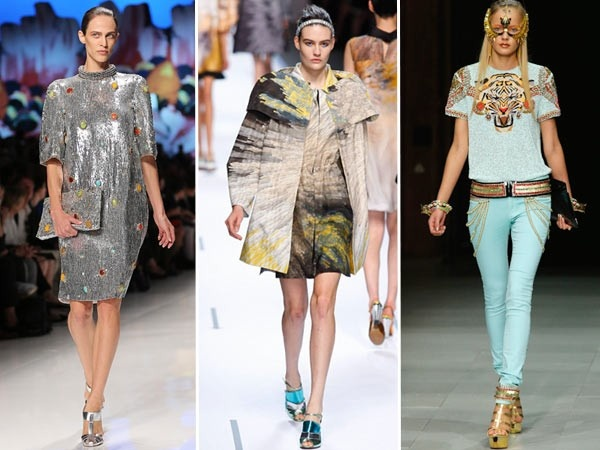 Flashy Metallic Shoes: While Manish Arora and Fendi, Etro and Balmain settled for gold and silver sandals or pumps, Prada had metallic gold socks.