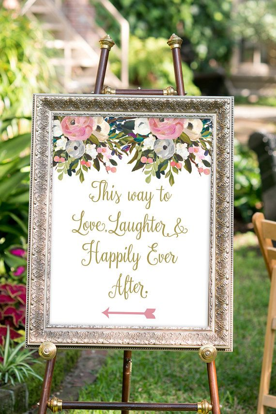 PRINTABLE - Love, laughter and happily ever after sign, Gold Wedding Decor, Watercolor Wedding, Summer Wedding, Wedding Directional Sign