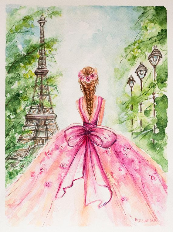 Eiffel Tower Paris Ballerina Painting Eiffel Tower Decor