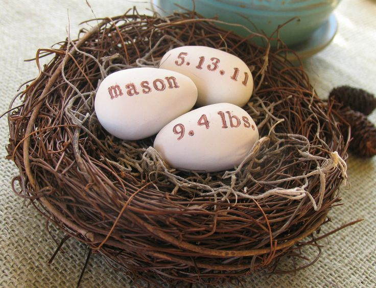 personalized BABY ANNOUNCEMENT NEST: 3 clay bird eggs/ woodland/ nursery / baby shower, via Etsy.