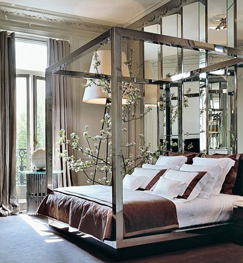 Mirrors, mirrors, mirrorsLamps, Mirrors Wall, Elie Saab, Paris Apartments, Fashion Design, High Ceilings, Master Bedrooms, Canopies Beds, Beds Frames