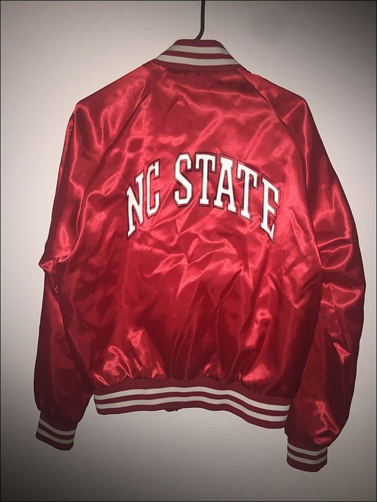 Vintage 80's NCSU NC State Wolfpack Chalk Line Satin Jacket - Size Large by RackRaidersVtg on Etsy