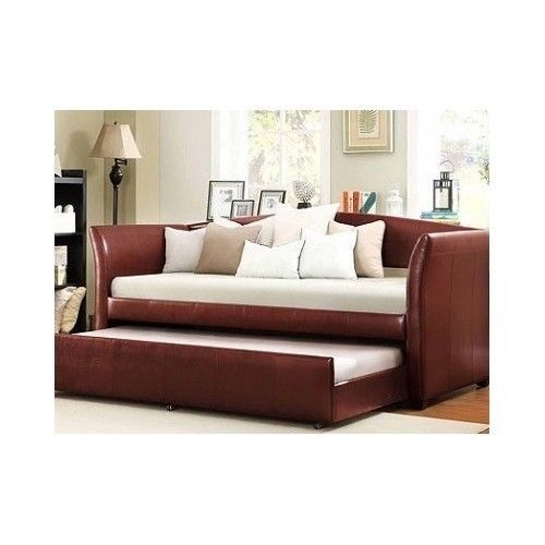 Red-Daybed-with-Trundle-Bedroom-Furniture-Leatherette-Guests-Rooms-Modern-Home