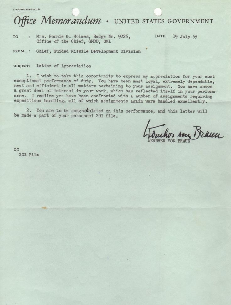 VON BRAUN WERNHER: (1912-1977) German-American Rocket Scientist. T.L.S., Wernher von Braun, one page, 4to, n.p. (Huntsville, Alabama), 19th July 1955, to Mrs. Bonnie G. Holmes, on the printed memorandum stationery of the United Sates Government. Braun writes a letter of appreciation in his capacity as Chief of the Guided Missile Development Division.
