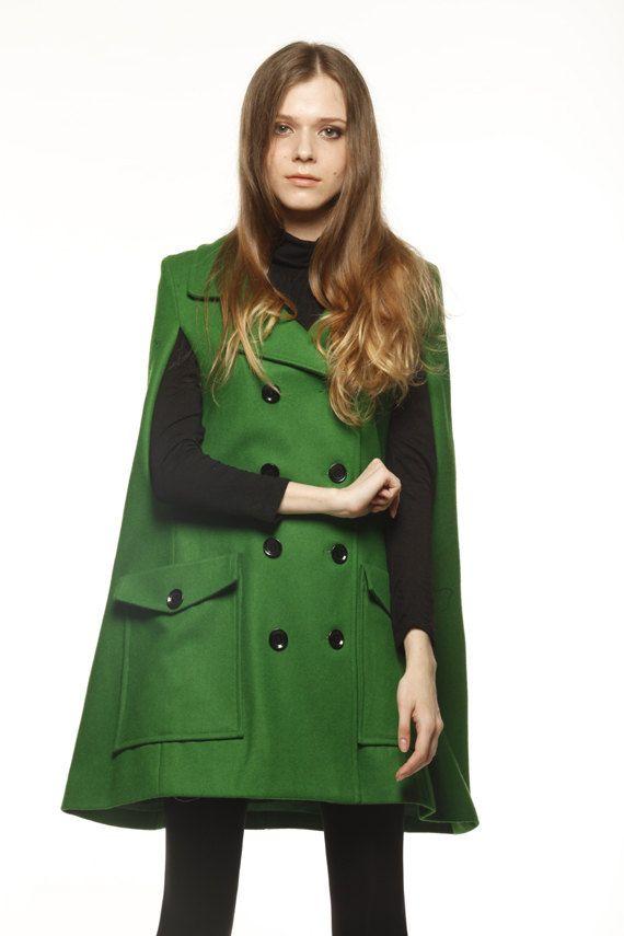 Green Wool Cape Coat Double by Sophiaclothing