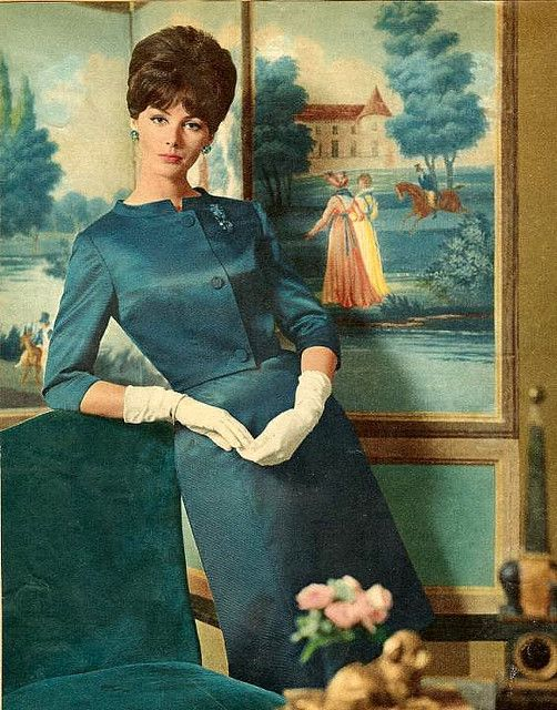 Nice vintage outfit. Teal, one of my favorite colors.