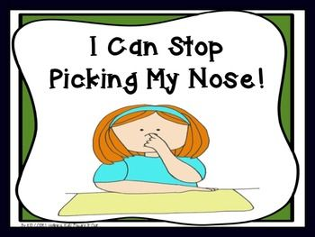 Social Story: I Can Stop Picking My Nose!This story is for children who pick their nose in front of their peers and need some help understanding why they need to stop.Included please find:Cover PageThank You Page5 Page StoryClip Art Credit Page