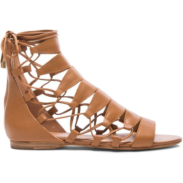 Sigerson Morrison Adal Lace Up Leather Sandals ($277) ❤ liked on Polyvore featuring shoes, sandals, sapatos, zapatos, laced sandals, cutout sandals, lace up shoes, wedges shoes and wedge sandals