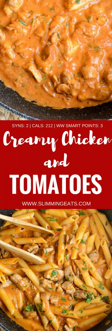 Low Syn Creamy Chicken and Tomatoes - gluten free, Slimming World and Weight Watchers friendly
