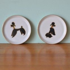 Vintage small Poodle kitsch plates condiments / coasters Germany