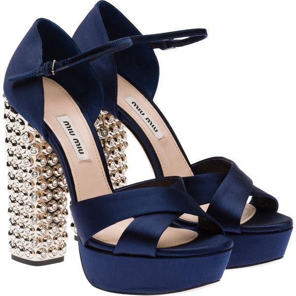 Miu Miu Sandals found on Polyvore featuring shoes, sandals, heels, baltic blue, platform sandals, rubber sandals, heeled sandals, ankle strap high heel sandals and blue high heel sandals