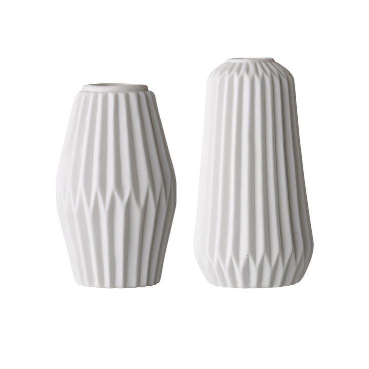 Blumenvasen 2er Set FLU – Porzellan/weiß 001