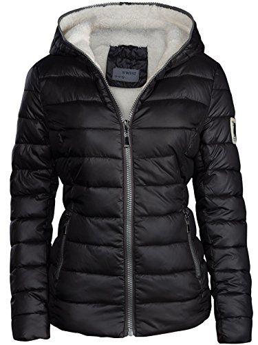 1fbb64791df7 Giacca invernale da donna foderata e trapuntata effetto piumino con  cappuccio giacca da sci calda nero