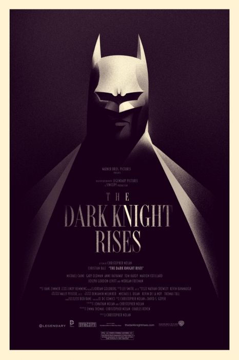 The first kind of non-limited Mondo poster!  This sold at Comic-Con, and also all day on the 18th, one per person, but as many people who wanted one could order it, so it's an edition of 9,350ish.      Mondo: The Archive | Olly Moss - The Dark Knight Rises - Variant, 2012