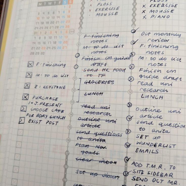 Tasks in Jibun Techo weekly columns