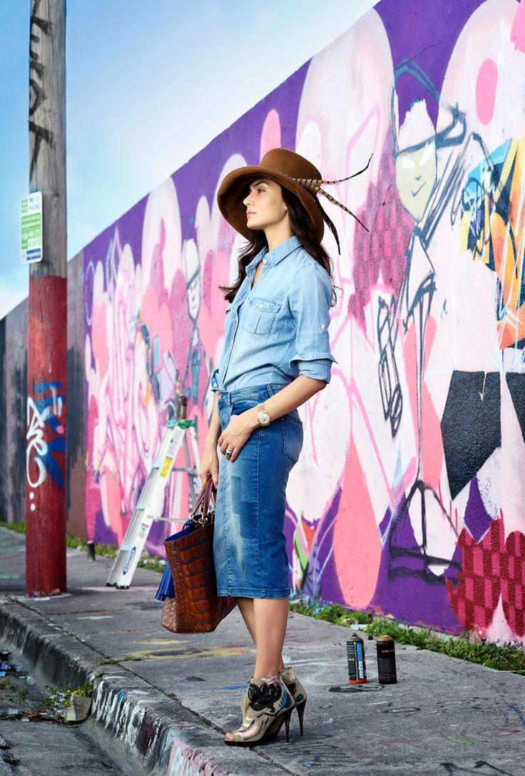 Its about denim look ! And a lovely Vintage Hat. Jenny Lopez.
