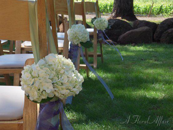 White Hydrangea Chair Accent www.afloralaffair.com