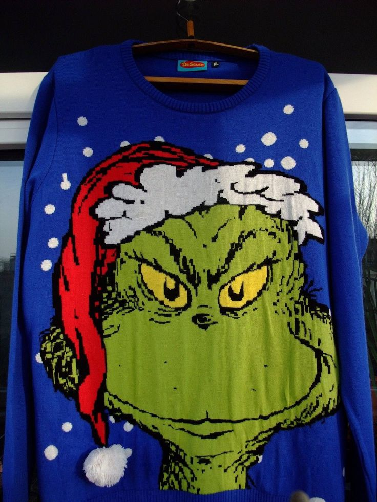 Grinch by Dr. Seuss 2016 XL blue Sweater  Sale!!! Adult by shirtsforeveryone17 on Etsy
