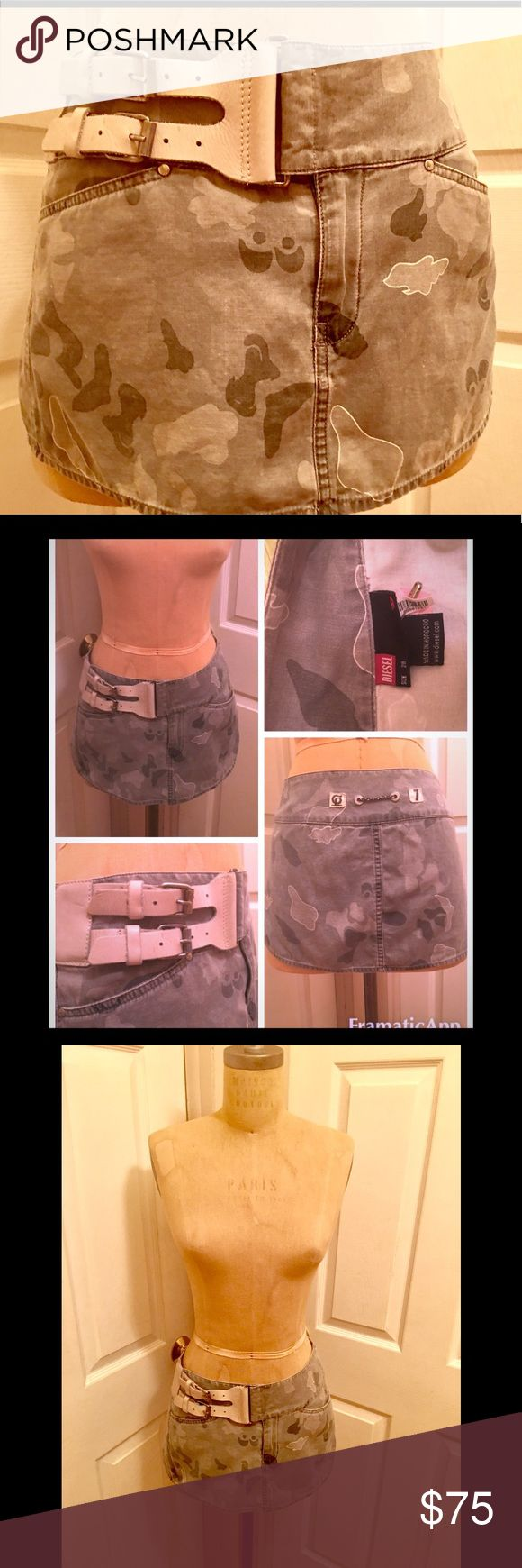 Vintage perfect condition camo  w/leather accents Worn handful of times. Expertly cleaned. No damages. Great condition. Camouflage print in different shades of grey mini with cute back detail ( pictured). Skirt has zipper opening which is green for extra quite unique quality, double snap closure at top. Also features built in genuine leather belt. Belt is cream/ivory colored soft leather with silver belt double closure. See pics for detail. Great with knee boot and sweater or sexy pump and…