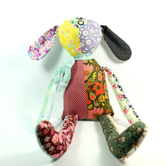 patchwork rag doll rabbit toy nursery decor plushie by rosieok, $80.00