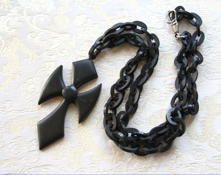 Antique Victorian Mourning Vulcanite Gutta Percha Necklace Cross Crucifix Chain Black. $135.00, via Etsy.