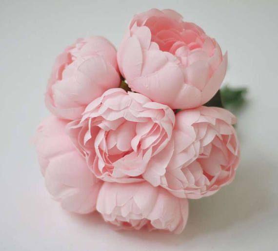 Peonías de seda 6pcs, peonías de blush rosa, Ramos de flores peonías de Dama de honor de Rosa clara, flores de boda rosa, flores de seda, no verdadero toque