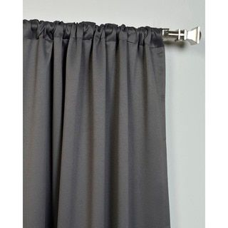 Exclusive Fabrics Charcoal Rod Pocket and Back Tab Blackout Curtain Panel Pair - Free Shipping Today - Overstock.com - 16558305 - Mobile