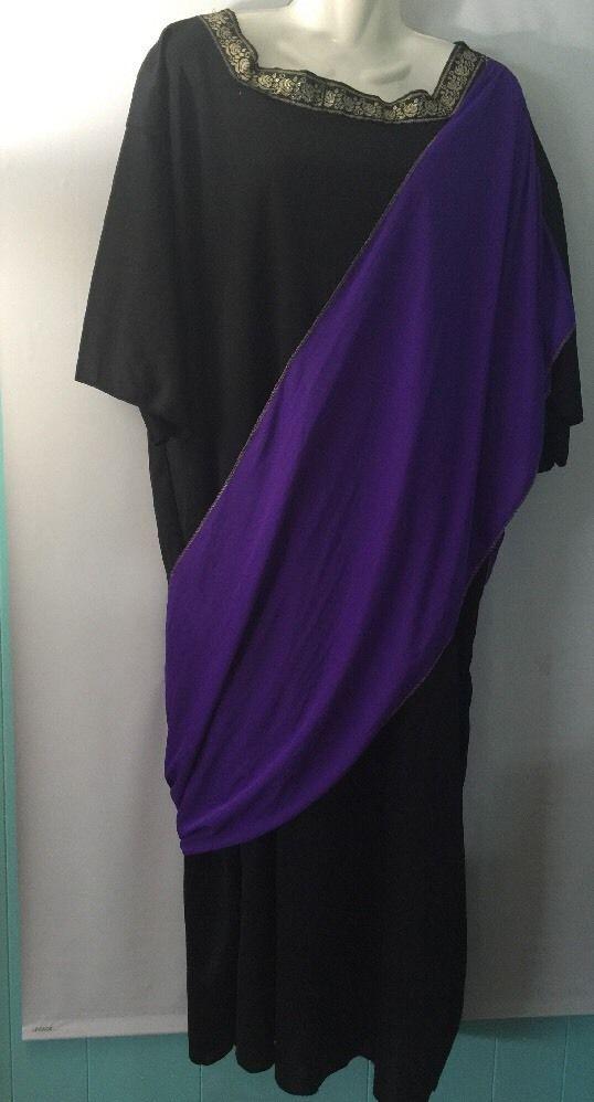 Greek Mythology Costume Robe Toga Black Gold Purple Adult XXL Plus Sz Romangod | eBay