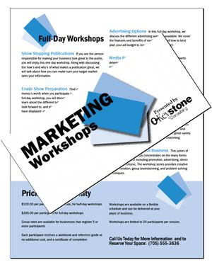 Create A Brochure Describing a Place or Organization: This brochure tries to persuade readers to sign up for marketing workshops provided by this company.
