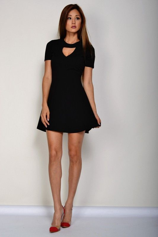 Black Neck Keyhole Dress