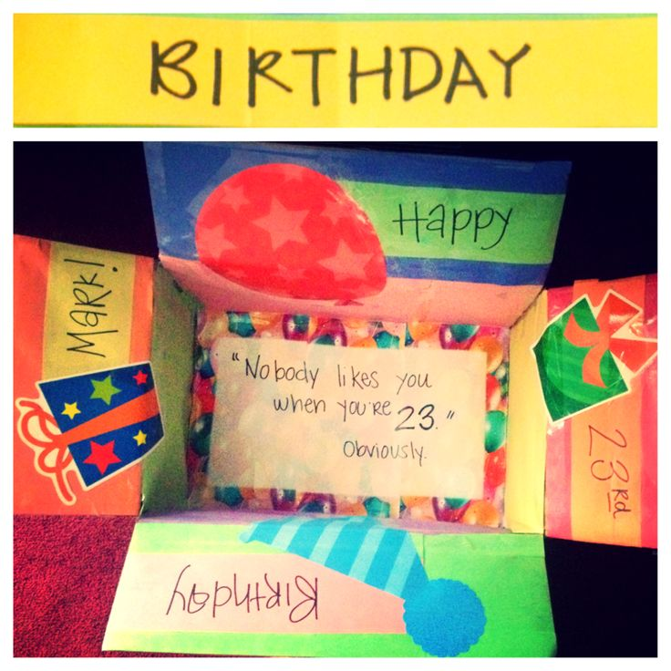 """Birthday Care Package Box for a Peace Corp Volunteer in Costa Rica (the quote on the bottom of the box is from the Blink 182 song """"What's My Age Again"""") 23 rd birthday Care package Long distance relationship Boyfriend birthday gift Peace corp Costa Rica"""