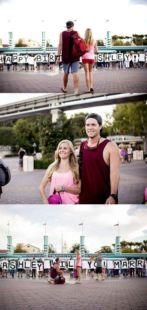 With a fakeout. | 33 Awesome Marriage Proposals You Couldn't Say No To Imagine seeing this during a race. So cute!