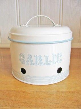 Vintage Style Cream Enamel Garlic Storage Tin