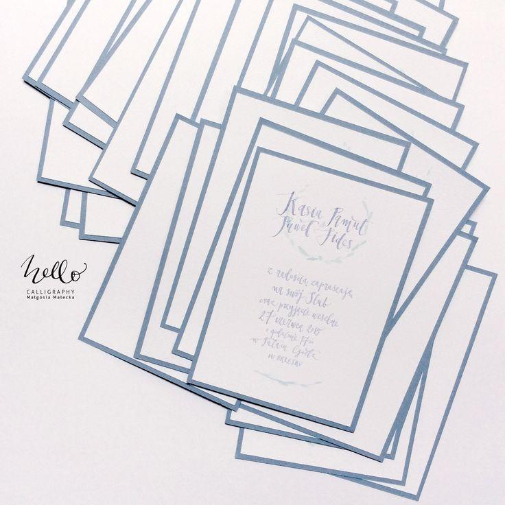 hanwritten calligraphy on wedding invitations by HELLO calligraphy . Małgosia Małecka.