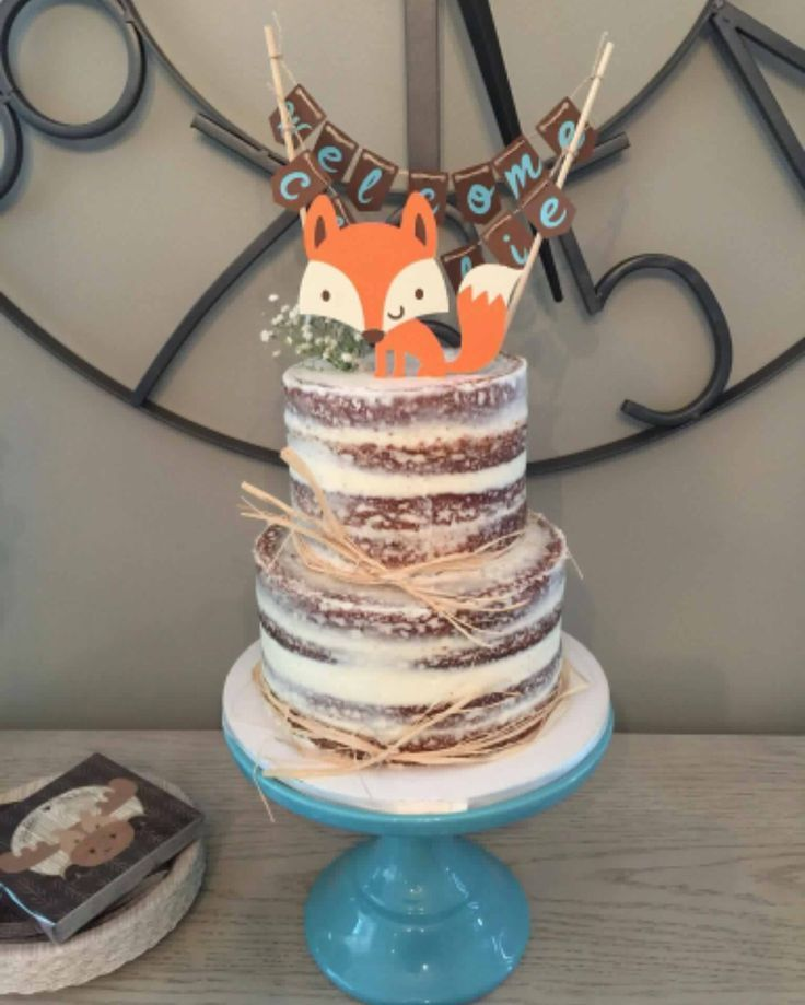 Naked rustic baby shower cake