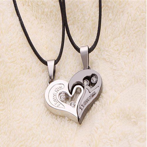 2 개 세련된 그의와 그녀의 심장 펜던트 영어 문자 커플 사랑 목걸이