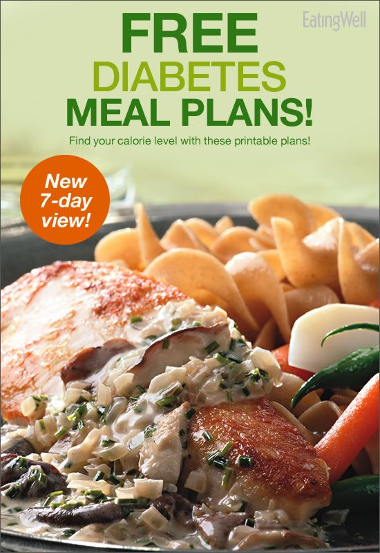 7-day diabetes meal plans for a diabetic diet at five different daily calorie levels: 1,200, 1,400, 1,600, 1,800 and 2,000.