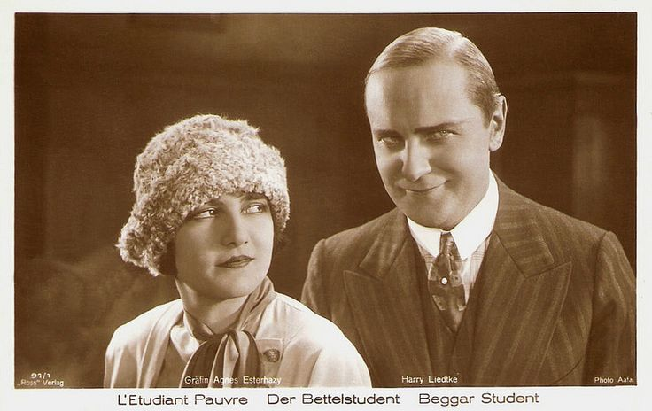Agnes Esterhazy and Harry Liedtke in Der Bettelstudent (1927). German postcard by Ross Verlag, Berlin, no. 91/1. Photo: Aafa. Publicity still for <i>Der Bettelstudent/The Beggar Student</i> (Jacob Fleck, Luise Fleck, 1927).