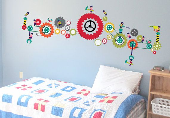 Men at Work Fabric Removable Wall Sticker These by WallDesignin, $79.00