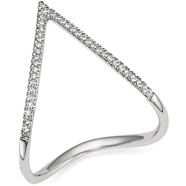 Diamond Pave Chevron Ring in 14K White Gold, .15 ct. t.w. (€550) ❤ liked on Polyvore featuring jewelry, rings, white, 14 karat gold jewelry, 14 karat white gold ring, pave diamond ring, bloomingdales jewelry and chevron jewelry