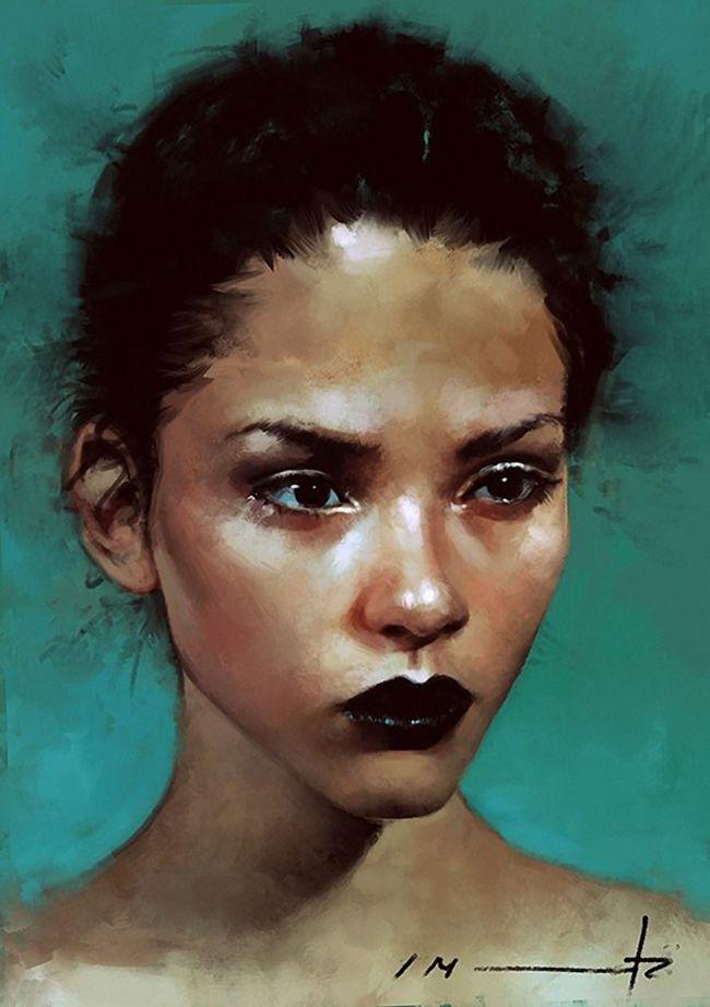 Digital portrait illustration by Isabella Morawetz {figurative art female head beautiful woman face portrait #loveart} morawetzart.com <3