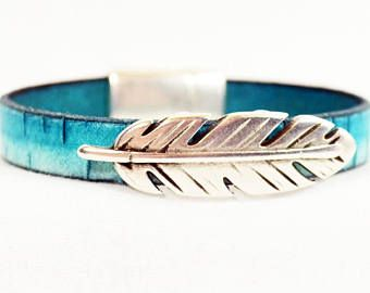 Men's Turquoise Leather Bracelet/Men's Feather Bracelet/Pslam 91/Bark Leather Bracelet/Turquoise Bark Leather/Silver Feather Slider 10F-518)