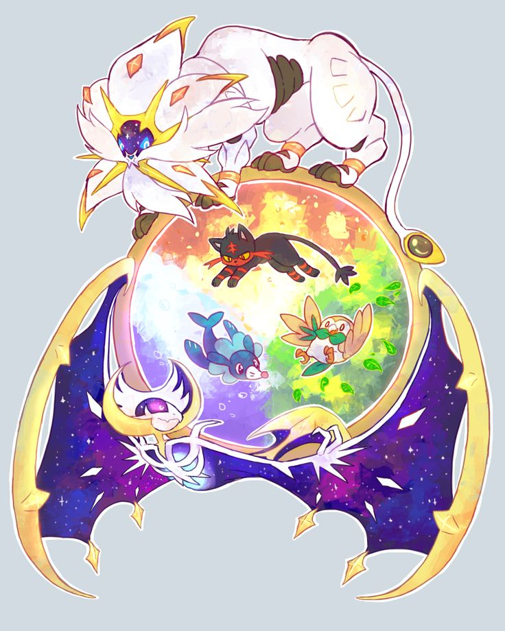 Pokemon Sun and Moon legendaries Solgaleo and Lunala encircling the Alola region starters, Rowlet & Litten & Popplio
