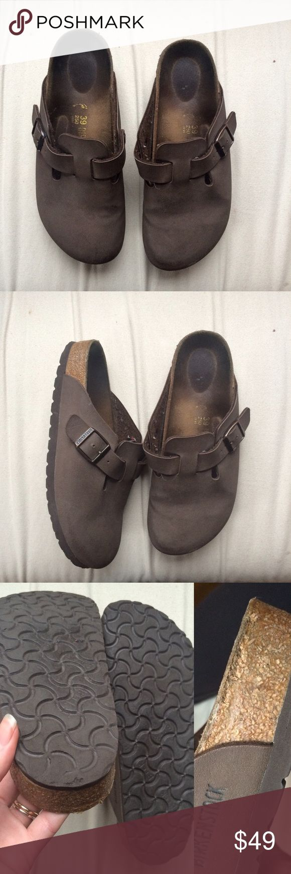 EUC Dark Brown Birkenstock Clogs Beautiful chocolate brown smooth leather clogs. Great condition, no scuffs. Some wear on the edge of the heels as shown in 3rd photo. Super comfy and these things last forever! Birkenstock Shoes