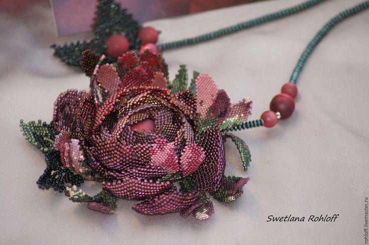 Купить Подвеска - браслет ,, Бургундская роза,, - зеленый, браслет, комплект украшений, весна