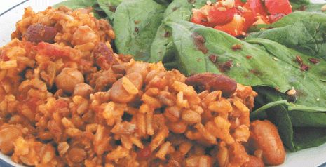 """WP 1 ÇHILI (Fibre): Bean, Brown Rice & Lentil CHILI. Vegan, Quick, Freezes. 2 types of Fibre: Soluble & Insoluble. Soluble rich: oat bran, fruit, vegetable, brown rice, barley, pea, bean, nut. Insoluble rich: lentil, pea, bean, wheat bran, whole-grain bread & cereal. Money Management Tips. """"Reduce health risks, improve digestion with fibre."""" Recipe. ~ The Western Producer"""