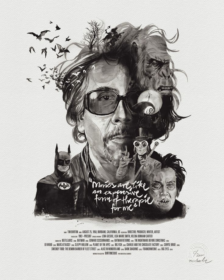 """Movies are like an expensive form of therapy for me"". Tim Burton creates imaginative, surrealistic worlds with fantastical characters that truly enrich our imagination. It's almost magic.This portrait illustrates the distinctive genius enlaced with references from his work within the history of cinematography. Developed in close collaboration with Julian Rentzsch, it's the skillfully set typography, an extraordinarily beautiful cotton paper stock and Julians remarkable drawing and…"