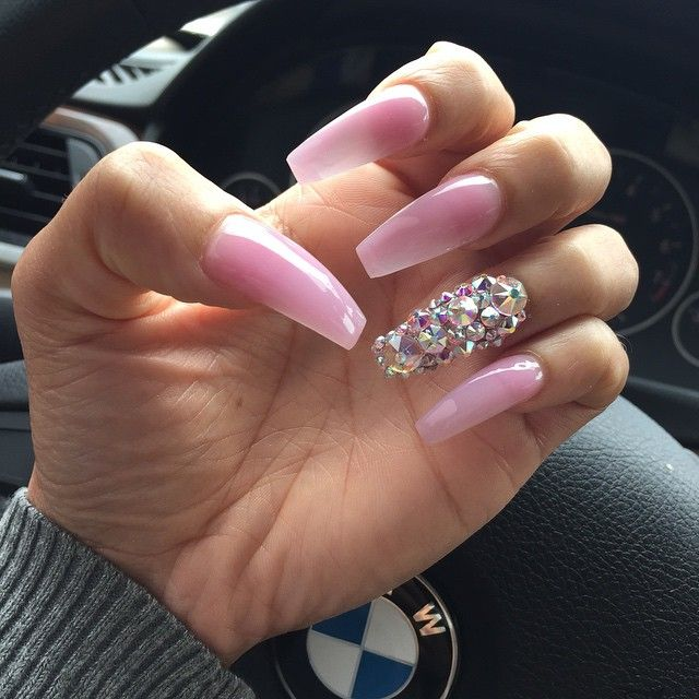 Pink Acrylic Nail Designs: Baby Pink + Rhinestone Long Coffin Nails. #nail #nailart