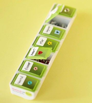 Put scrapbook supplies in a pill box - 25 Craft Room Organization Tips