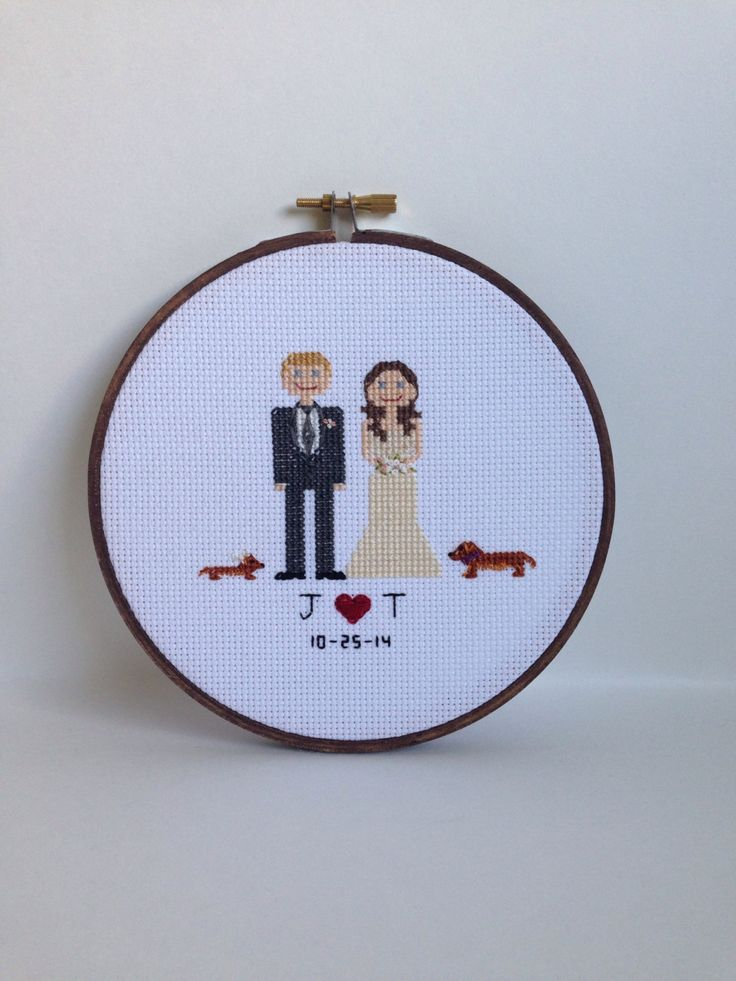 Custom Bride and Groom Wedding Cross Stitch by AStitchingGoodTime